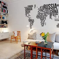 Wall Decal Vinyl Sticker Home Decor Modern Art Mural &quot; World MAP &quot; 94.5&#x27;&#x27; x 50.4&quot;