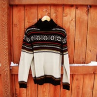 Vintage 1970s Retro Preppy HIpster Fair Isles  Ski Lodge Sweater. sold by Kmart. size M. unisex