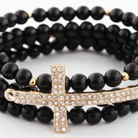 Amazon.com: Ladies Black with Gold Iced Out Sideways Cross Style Beaded Stretch Bundle Bracelet: Jewelry