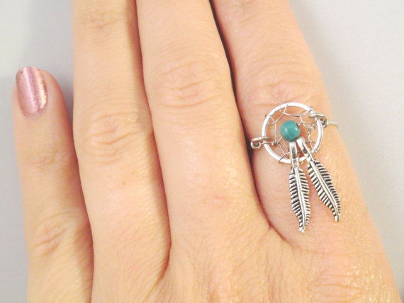 Dream catcher ring with feathers from midnights mojo things for How to make a double ring dreamcatcher
