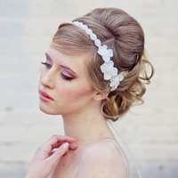 Wedding flower headband, Pearl tie headband for weddings with ivory flowers, bridal hair accessory
