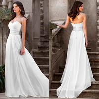 Elegant White Chiffon Wedding dress Bridal Gown Size UK 8 10 12 14 16