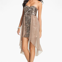 Way-In Sequin Chiffon Overlay Dress (Juniors) | Nordstrom