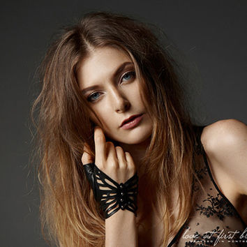 Studded Leather Butterfly Fingerless Gloves by LoveAtFirstBlush