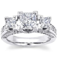 Amazon.com: 2.50 Ct Princess Cut Natural Genuine Diamond Engagement Anniversary Certified Ring 14K Solid White Gold (1 Ct Center E - F / VS2 - SI1): Jewelry