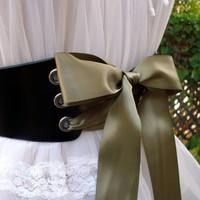Black WillowWide Ribbon Laced Leather by ContrivedtoCharm on Etsy