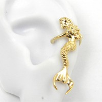 Gold Vermeil Sitting Mermaid Ear Cuff Earring Left ear