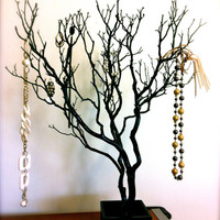 "30"" Black / Painted Tree Jewelry holder"