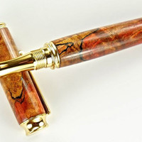 Hand turned Wooden Pen Handcrafted from Stabilized and Dyed Red Spalted Maple Gold  Hardware 370L
