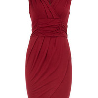 Red zip pleat jersey dress - View All - Dresses - Dorothy Perkins