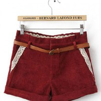 Claret-red Corduroy Shorts with Contrast White Lace Trim