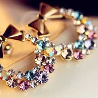 Circular Rhinestone Bow Earrings