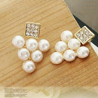 Elegant Full Rhinestone Square& Pearl Grape Stud Earrings at Online Cheap Fashion Jewelry Store Gofavor