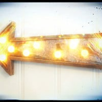 Industrial Vintage metal sign arrow barn by WestVintageTradingCo