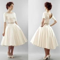 Christy Silk duchess satin full skirt tea by AlexandraKingBridal