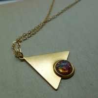 Triangle necklace with pink opal stone by littlepancakes on Etsy