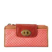 Amazon.com: Womens Leather Wallets FOSSIL WOMEN SLW MASON PERF LTHR CLUTCH ROSE SL3111652: Clothing
