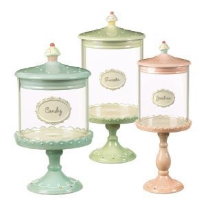 Amazon.com: Grasslands Road Just Desserts Cupcake Pedestal Candy Jars Three Styles, Set of 3: Kitchen & Dining