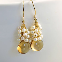 Citrine Pearl Earrings 14K Gold Fill November by NansGlam on Etsy