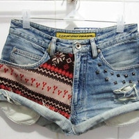 Make To Order - Vintage High Waist Tribal Printed / Snowflake Studded Cut Off Shorts