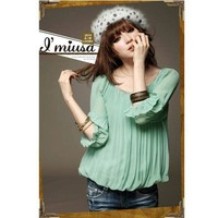 Round Neckline-embellished Frills Chiffon Green Half Sleeves Blouse--Women's Blouses China Wholesale - Sammydress.com