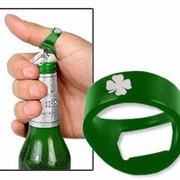 Green Irish Shamrock Beer Bottle Opener Ring