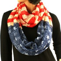 Amazon.com: Original Patriotic American USA Flag Loop Circle Chain Infinity Scarf Chain: Clothing