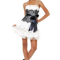 Ivory & Black Scalloped Tea Party Lace Cocktail Dress - Unique Vintage - Cocktail, Evening  Pinup Dresses
