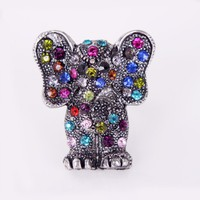 $4.99  Vintage Silver Tone Full Rhinestone Encrusted Elephant Animal Ring at Online Cheap Vintage Jewelry Sotre Gofavor
