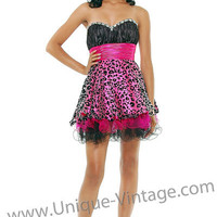 Fuchsia & Black Animal Print Rhinestone Sweetheart Strapless Short Homecoming Dress - Unique Vintage - Cocktail, Evening  Pinup Dresses