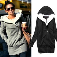 Korea Women Hoodies Coat Warm Zip Up Outerwear Sweatshirts 2 Colors