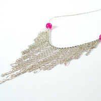 Pink Ruby and Sterling Silver Chain Fringe Statement Necklace