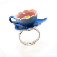 Blue Teacup And Saucer Ring Garden Collection
