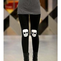 FREE SHIPPING Skull Heads Printing Elastic Cotton Black Legging M/L