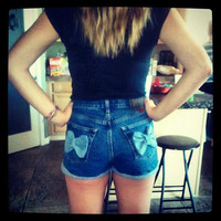 High Waisted Bow Shorts Denim Jean Shorts Festival Wear Summer Clothing Custom Order Any Size Tumblr Hipster