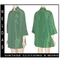 60s Vintage Green Satin Jacket Coat Mad Men Swing Cocktail Rhinestone Button