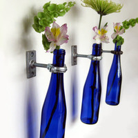 Cobalt Blue Wine Bottle Wall Flower Vase -  Hanging Vase - Wall Decor  - Copper Hardware
