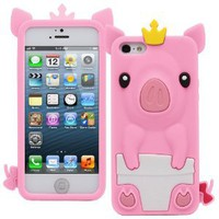 Amazon.com: Fosmon JEL Series Silicone Case for Apple iPhone 5 - 3D Pig (Baby Pink): Cell Phones & Accessories
