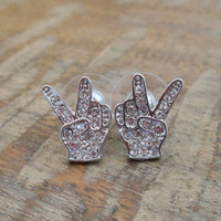 Silver Peace Sign Earrings - Peace Earrings - Rhinestone Peace Studs
