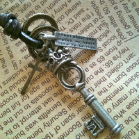 Free shipping key charm leather Necklace in by Victorianstudio