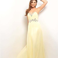 Yellow Pleated Chiffon Strapless Empire Waist Prom Dress - Unique Vintage - Cocktail, Pinup, Holiday & Prom Dresses.