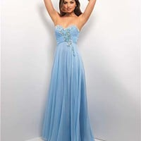 Powder Blue Gathered Chiffon Rhinestone Strapless Prom Dress - Unique Vintage - Cocktail, Pinup, Holiday & Prom Dresses.