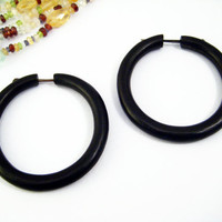 Hoop Post Earring Wood Hand Carved Tribal Style - Gauges Plugs Bone Horn - PE020L BW
