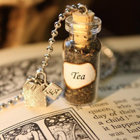 Glass Vial Necklace - Green Tea