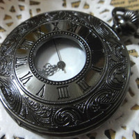 Steampunk Jet Black Roman Pocket Watch