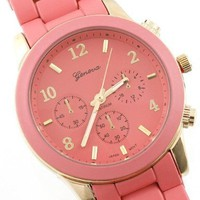 GENEVA PLATINUM 9245 WOMEN'S DECORATIVE CHRONOGRAPH STYLE LINK WATCH - CORAL/GOLD