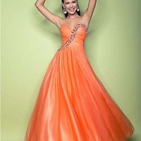 Tangerine Pleated Tulle Beaded Sweetheart Lace Up Prom Gown - Unique Vintage - Cocktail, Pinup, Holiday &amp; Prom Dresses.