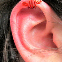 Red Spiral Ear Cuff Triple Wrap