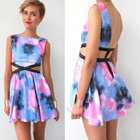 GALAXY BRUSH SPLASH VIVID PRINTS SIDE CUT OUT BACKLESS SKATER DRESS 6 8 10 12