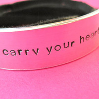 i carry your heart Bracelet  Personalized Leather by TesoroJewelry